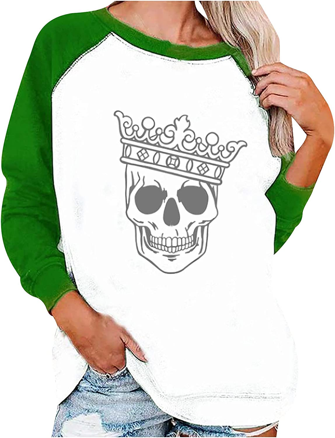 Fashion T-shirt for Women's Pullover Halloween Printed Long Sleeve Comfortable Breathable O-Neck Blouse Tops