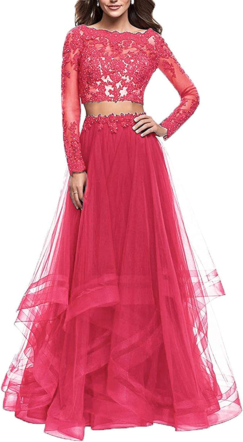 20KyleBird Two Pieces Lace Appliques Prom Dresses Long Sleeves Tulle Evening Party Gowns for Women Formal KB132