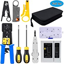 LETB Network Tool Kit Set, Cable Tester Repair Tools Wire Stripping Cutter, Coax Crimper Plug Crimping, Punch Down RJ11 RJ45 Cat5 Cat6 Wire Data Detector Stripper, (A)