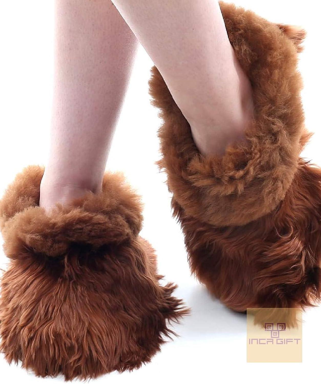 IncaGift Handmade Alpaca Suri Fur Slippers Made in Peru