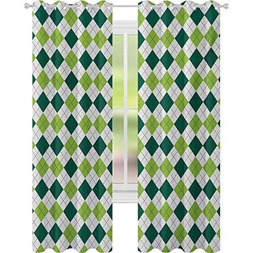 Window Treatments Curtains, Classical Diamond Line Pattern with Dotted Lines Vintage Design, W52 x L95 Blackout Drapes for Kid's Room, Lime Green Dark Green White
