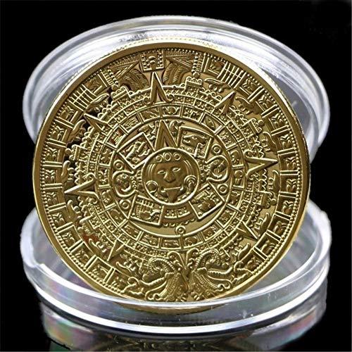 YunBest Colección de monedas conmemorativas aztecas y mayas en un calendario con chapas de EE. UU.