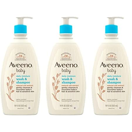 Aveeno Baby Daily Moisture Gentle Bath Wash & Shampoo with Natural Oat Extract, Hypoallergenic, Tear-Free & Paraben-Free Formula For Sensitive Hair & Skin, Lightly Scented, 18 Fl Oz (Pack of 3)