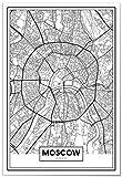 Panorama Poster Karte von Moskau 35x50 cm - Gedruckt auf