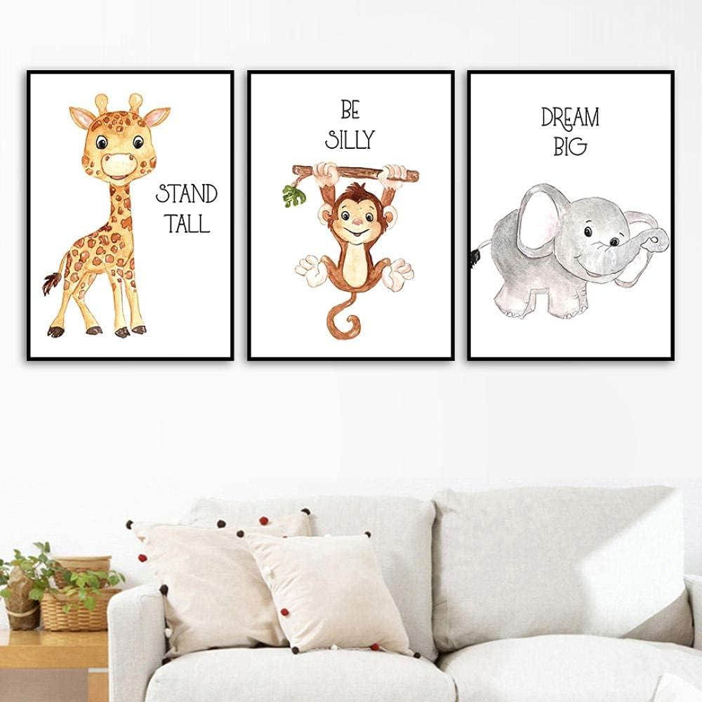 Giraffe Monkey Elephant Animal Wal Posters low-pricing Max 49% OFF Nordic Cartoon