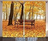 ABAKUHAUS Fallen Rustikaler Vorhang, Misty Autumn Park rustikal, Wohnzimmer Universalband Vorhänge mit Schlaufen & Haken, 280 x 245 cm, Orange Braun