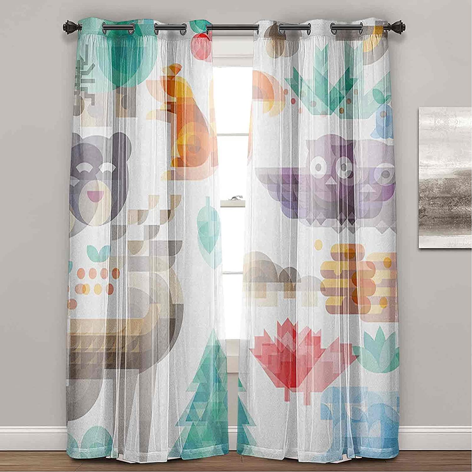 Kids 5 ☆ popular Bedroom Window Curtains Cute Cheerful Art OFFicial shop Poly Anima Style