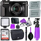 Canon PowerShot G7 X Mark II Camera w/ 1 Inch Sensor & tilt LCD Screen - Wi-Fi & NFC Enabled (Black) & LED Video Light, 32GB Sandisk Memory Card, Extra Battery + Accessory Bundle
