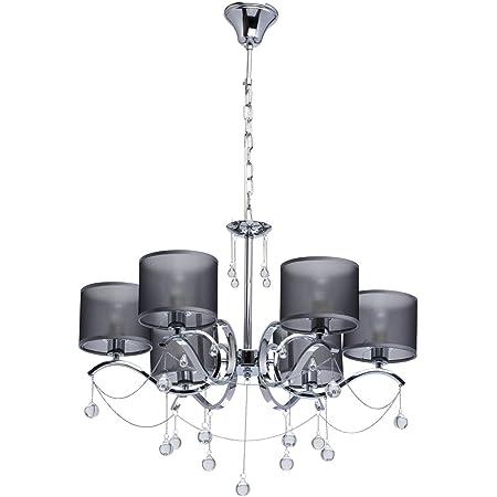MW-Light 379019006 Lustre à 6 Branches Design Moderne en Métal Chromé Abat-jours en Organza Gris Pampilles Boules en Verre pour Chambre 6x40W E14