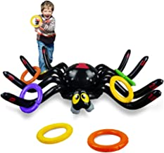 Lulu Home Halloween Ring Toss Game, Inflatable Spider Toss Game Halloween Party Supplies Funny Game with 8 Rings
