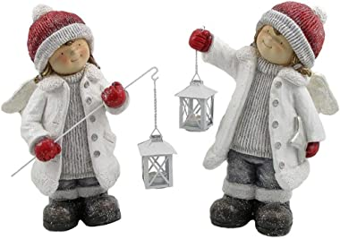 Zaer Ltd. Boy & Girl Angels with Lanterns Christmas Figurines Tushkas Collection