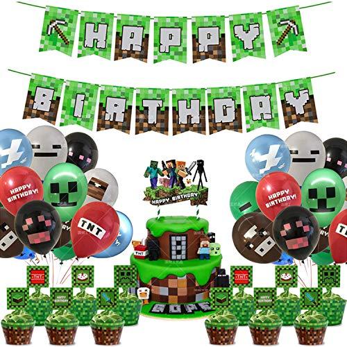 Geburtstag Dekoration für Spielliebhaber, Gaming Theme Party Supplies, Thema Party Dekorationen für Miner Gamer Party Favors – inkl. Happy Birthday Banner Luftballons Cake Topper (A)