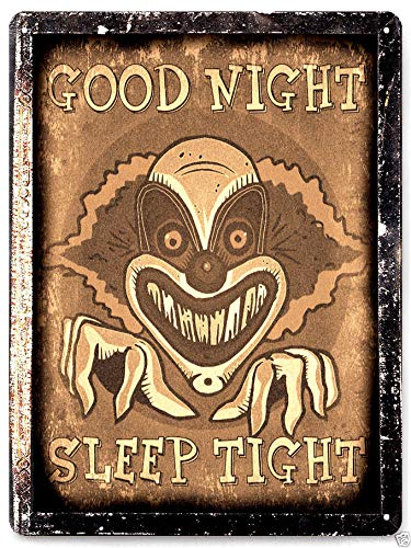 Halloween Metal Sign Halloween Poster Plaque Funny Sign Clown Halloween Scary Movie Prop Metal Sign Vampire Horror Vintage Decor 12x18 Inches