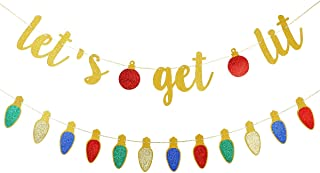 Gold Glittery Let's Get Lit Banner and Glittery Christmas Theme Garland Decor- Christmas Holiday Party Decorations,New Yea...