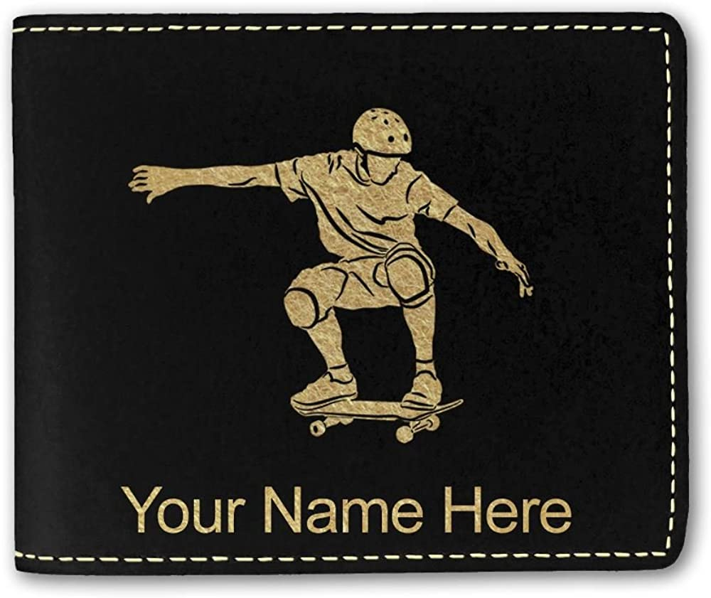 Faux Leather Wallet, Skateboarding, Personalized Engraving Included
