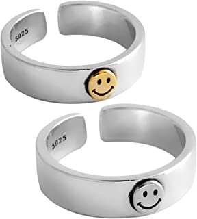 DXZNBEST Women Smiley Ring Band Open Statement Ring Vintage Chunky Rings Smiling Face Ring Jewelry Adjustable Bands for Wo...