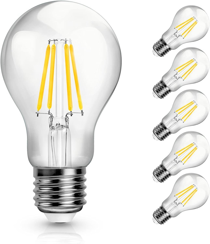 Kingkindsun Retro-Leuchtmittel Entspricht 40W, 4W, A60, 2700K LED warmwei, 470lm Home, 360Grad Abstrahlwinkel, nicht dimmbar Energiesparend Leuchtmittel, 6er Pack