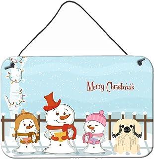 "Caroline's Treasures BB2437DS812 Merry Christmas Carolers Pekingese Cream Wall or Door Hanging Prints, 8"" x 12"", Multicolor"