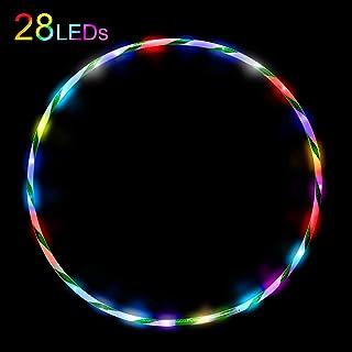 Led Hula Hoop para niños a partir de 6 años y adultos Fitness Baile Ejercicio Reducción de peso Brillo Brillante Led Hula Hoops 28 Colores Cambio estroboscópico Luz múltiple 90cm 60cm(Sin batería)