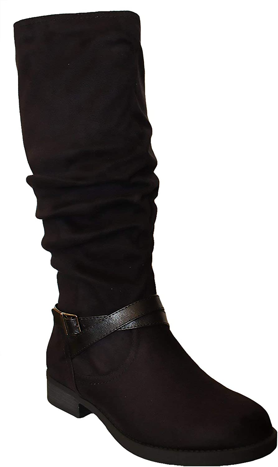 Soda Dale Women's Fashion Cozy Suede Fold Over Mid Calf Slouch Boots with Buckle
