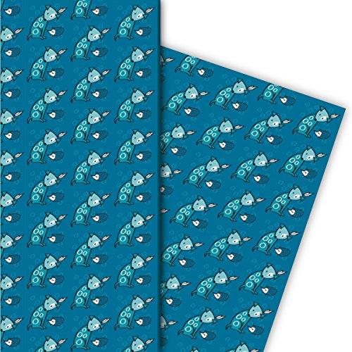 Vrolijk cadeaupapier set (4 vellen), decoratief papier, papier om in te pakken met kleine Indiaanse hond, blauw, voor leuke cadeauverpakking en verrassingen 32 x 48 cm