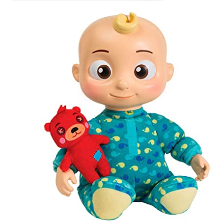 """CoComelon - Bebè musicale JJ - peluche/bambola 30 cm che riproduce la canzone """"Yes yes bed time"""", Misto"""