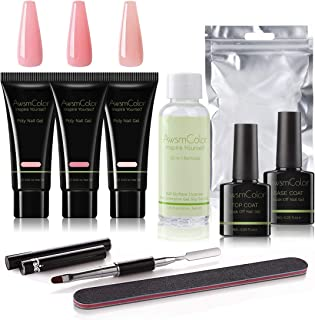 AwsmColor Poly Nail Extension Gel Kit 15ml 3 Bottles Pink Nail Enhancement Builder Set with Slip Solution All-in-One Nail Thickening Nail Gel Polish Kit
