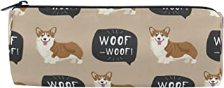 ALAZA Woof Dog Cylinder Pencil Case Holder Zipper Large Capacity Pen Bag Pouch Students Stationery Cosmetic Makeup Bag