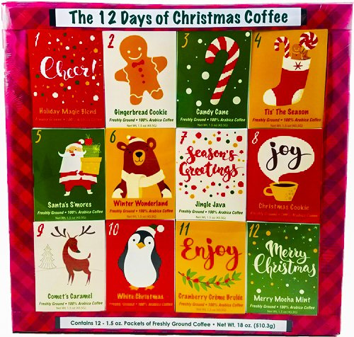 Christmas Sampler Gift 12 Days of Coffees Christmas Gourmet Gift Box Set Flavored Coffee- Best Xmas Present For Friends, Family, Corporate, Coworkers, or Teachers (Coffee)