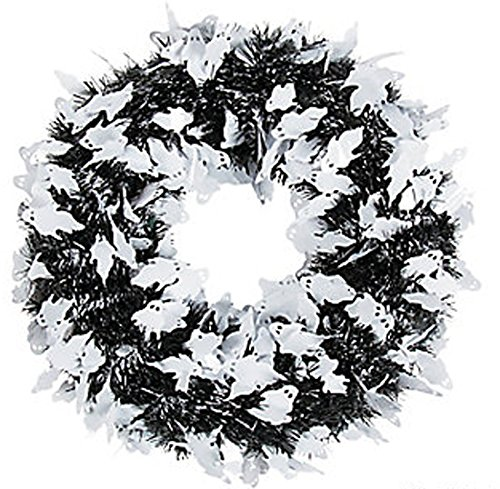 Metallic Tinsel Halloween Monochrome Wreath