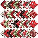 50 Telas de Algodón Navideña Telas Acolchados con Impresión Cuadrada de Navidad con 10 Patrones de Navidad Diferente Patchwork de Algodón