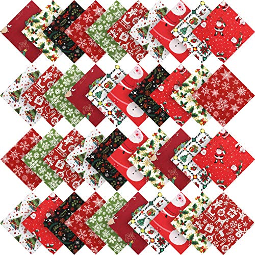 Irenare 50 Pieces Christmas Cotton Fabric Square Quilting Fabric Squares Bundle Sewing Quilting Craft 10 Different Christmas Patterns Patchwork for DIY Christmas Sewing (5 x 5 Inches/ 13 x 13 cm)