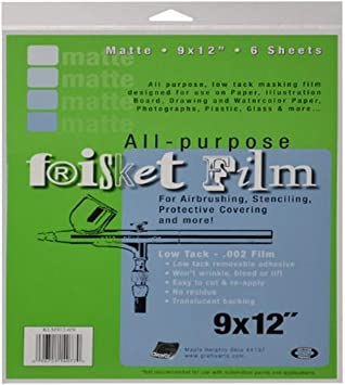 Grafix Extra Tack Frisket Film Sheets 9-Inch-by-12-Inch Pack of 6