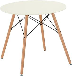 H.J WeDoo Table de Salle à Manger scandinave Moderne Style rétro en MDF Pieds en Vrai Bois Table Ronde, Blanc