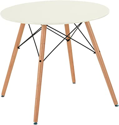 FITATHOME Fit@Home Table Ronde 80cm Blanche MDF Bois Massif Scandinave Design Salle à Manger Cuisine