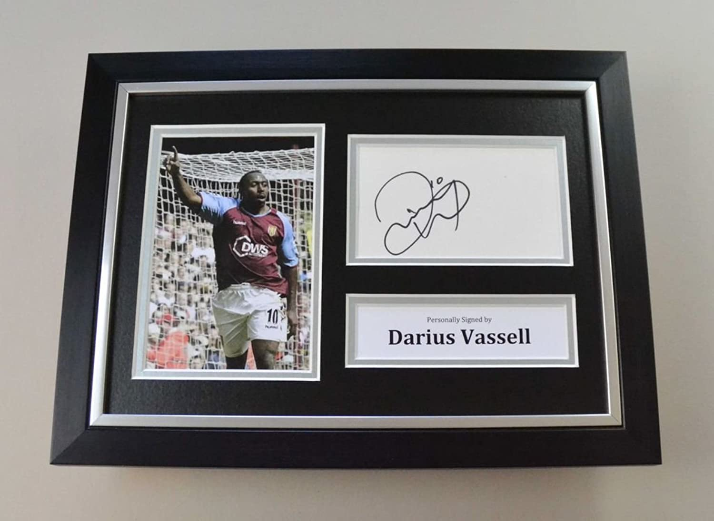 Darius Vassell Signed A4 Photo Framed Aston Villa Autograph Display Memorabilia