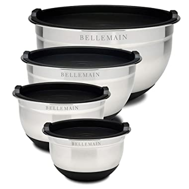 Top Rated Bellemain Stainless Steel Non-Slip Mixing Bowls with Lids (4-Piece Set)