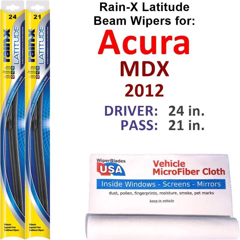 Rain-X Latitude Beam Free Shipping New Wiper Blades MDX Columbus Mall for Acura 2012 Set