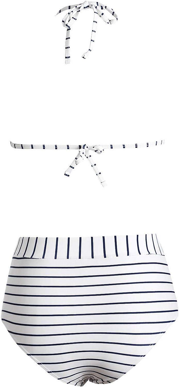 ENLACHIC Womens Mesh Striped High Waist Bikini Set Tassel Top Halter Swimsuit