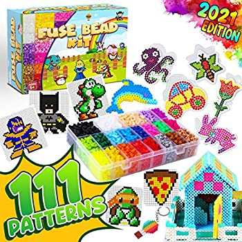 GoodyKing 5500 pcs+ Arts and Crafts Fuse Beads Kit for Kids with Instruction - 5mm Pixel Art Melty Plastic Beads Set with 111 Patterns 21 Assorted Colors Plus - School Teens Kids Age 4 5 6 7 8 and up