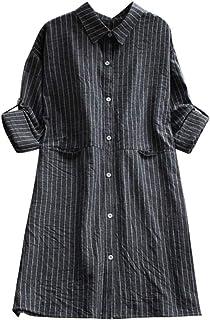 ff7f4a5c88 BOLUOYI Fashion Women Pockets Dress Long Sleeve Cotton Linen Striped Casual  Dresses