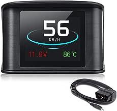 POWLAB Car HUD Head Up Display, Car Speed Projector P10 OBD2/EUOBD Digital Speedometer Display Fuel Consumption Temperature Gauge Diagnostic Tool Windshield Digital Speedometer Display Alarm