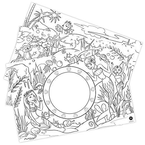 12 Platzset Kinder aus Papier, Papier-Tischset Kinder: Motive Zoo, Meerjungfrau und Pirat, Kinder-Platzsets zum Ausmalen, Bastelunterlage, Kinderbeschäftigung, Mal Mich Bunt