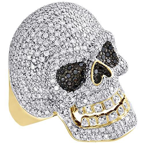 Jalash 3 Ct Sim Diamond Mens Skull Head Ring 14K Yellow Gold