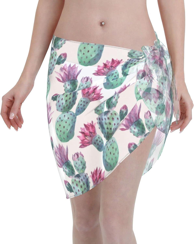 Tiogumg Cactus Watercolor Pattern Women Short Sarongs Beach Wrap Sheer Bikini Wraps Chiffon Cover Ups for Swimwear Black