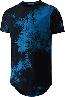Sponsored Ad - Mens Hip Hop Tie-Dyed Hipster Curve Hem T Shirt