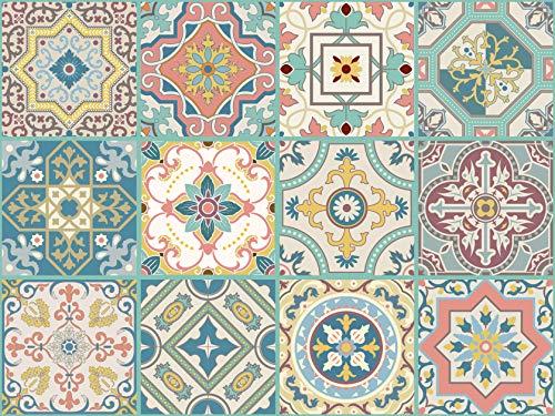 The Nisha 24 PC pegatinas para pared Adhesivo de Pared Salpicadero de Vinilos Azulejos Adhesivos Arte Ecléctico para la Cocina & Baño, 10x10 cm, Belleza veneciana