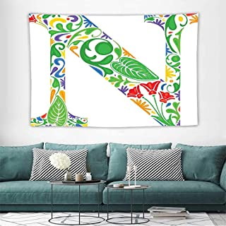 Alisoso Letter NFabric Wall hangings Mother Earth Inspired N Typography Nature of Words Curved Botanical Beauty Style Bedspread Bedroom Living Kids Girls W39 x L39 inch