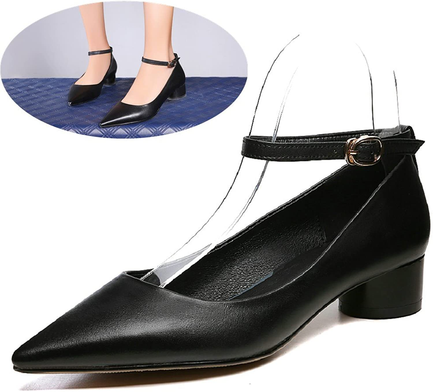 An Meng Xin Ling Women Leather Pumps shoes Comfort Low Heel Pointed Toe Work Black Chunky Heel Slip On Pumps