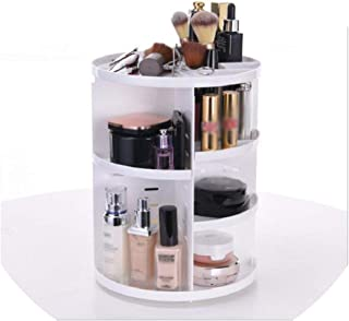 Fashion 360-Degree Rotating Makeup Organizer Box Brush Holder Jewelry Organizer Case Jewelry Makeup Cosmetic Storage Box,White